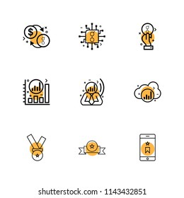 coin  golem  dollar chip  ic  graph  cloud  smart phone  medal icon vector design  flat  collection style creative  icons