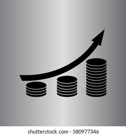 Coin grouth diagram icon, investment vector illustration