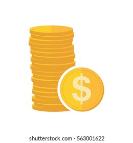 Coin icon in flat design. Gold dollar symbol. Income concept. Heap of cash dollar coin - vector illustration.