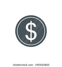 Coin icon. Money dollar symbol. Busines pay concept. Vector isolated on white