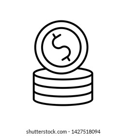 Coin icon vector illustration, isollated line style simple  emblem, dollor coin game . money logo template sign