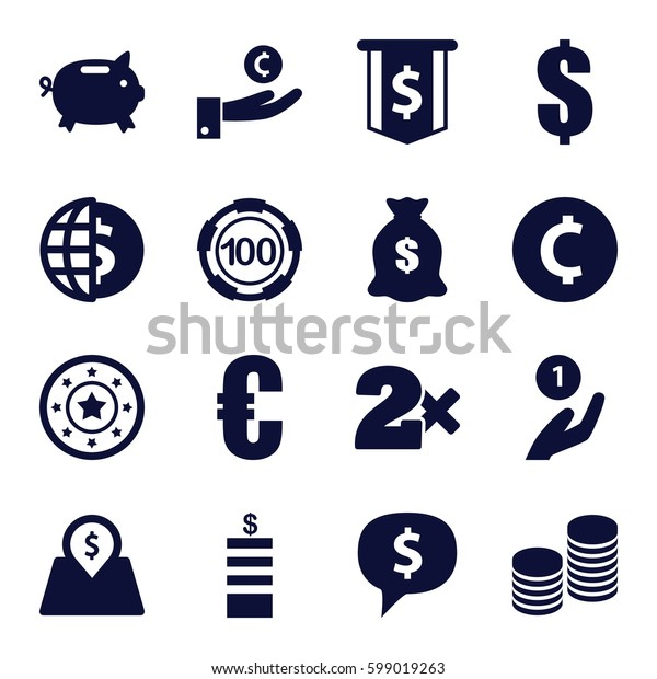 coin icons set. Set of 16 coin filled icons such as Coin, 100 casino chip, Casino chip, Casino bet, dollar, money sack, lot price, euro, money box