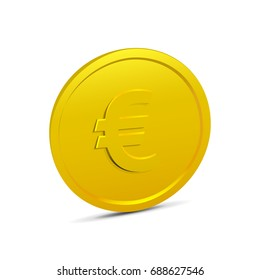 Coin isolated on white background. Realistic 3D gold coin icon. Vector illustration of money, currency in euro.