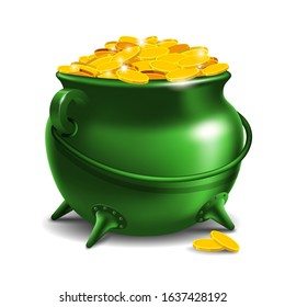 Coin in a jug Illustration, Happy St patrick day.