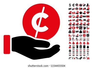 Coin micropayment hand icon. Vector illustration style is flat iconic symbols in black and red colors. Bonus contains 90 icons designed for business and commercial applications.