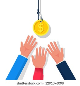 Coin on hook. Dollar bait. Money trap concept. Vector illustration flat design. Isolated on background. Hand reaching for free money. Financial bait. Greed concept.