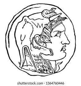A coin was released with the portrait of Ptolemy Soter, vintage line drawing or engraving illustration.