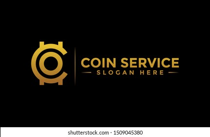 Coin service logo template. Initial letter C logo, icon - Vector Digital money. Block chain, finance symbol. Flat style vector illustration, Logotype financial company, logo vector coins and money.