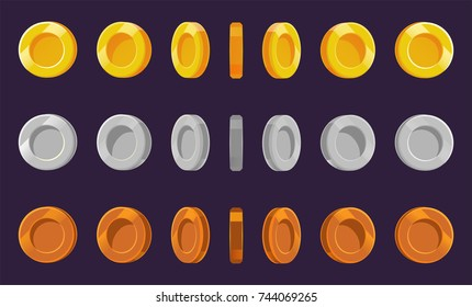 Coin sprite sheet. A set of gold, silver and bronze coins on a purple background. Animation for computer games. Vector illustration. EPS 10.