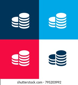 Coin stack four color material and minimal icon logo set in red and blue