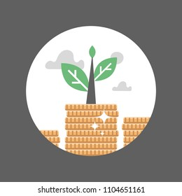 Coin stack, plant growth, finance long term investment, pension fund, superannuation, stock market, mutual fund concept, interest rate, dividends annual payment, portfolio performance, time is money