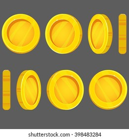 Coin turn around, animation for game and apps.Money games. Vector illustration