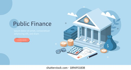 Coins, Banknotes, Financial Documents Lying Near Government Finance Department or Tax Office Column Building. Public Finance Audit Concept. Flat Isometric Vector Illustration. - Shutterstock ID 1896951838
