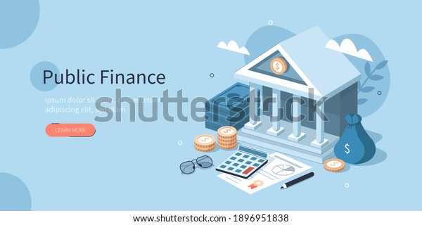 Coins, Banknotes, Financial Documents Lying Near Government Finance Department or Tax Office Column Building. Public Finance Audit Concept. Flat Isometric Vector Illustration.