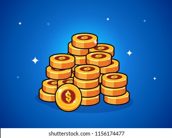 Coins cartoon. Уlements for mobile games