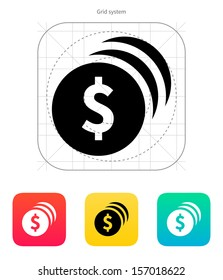 Coins with dollar sign icon. Vector illustration.