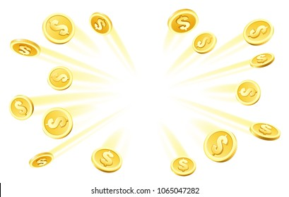 Coins explosion. Gambling gold rain, dollar coins heap money explosion for casino abundance concept vector illustration