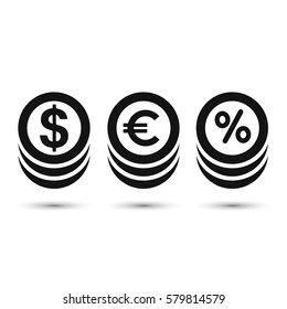 Coins icon, dollar, euro and percent coin symbol. Vector.