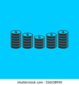 Coins icon flat. Simple vector black pictogram on blue background