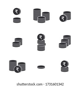 Coins icon. Gold Rupee coins. Indian Rupee coin. Vector money symbol. Bank payment symbol. World economics. Finance symbol. Currency symbol. Set of outline money. Stack of coins. Coin icon.