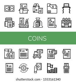coins icon set. Collection of Bill, Jewish, Casino, Revenue, Coins icons