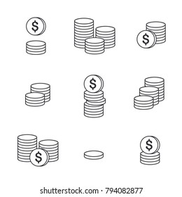 Coins Icon. Set of outline money. Coins vector icon. Bank payment symbol. Flat isolated illustration.
