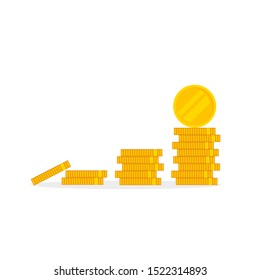 Coins icon. Stack of golden coin. Vector illustration. EPS10
