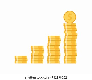 Coins icon. Stack of golden coin like income graph. Vector illustration.