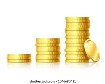 Coins icon. Stacks of golden coins like income graph. Vector illustration isolated on white background.