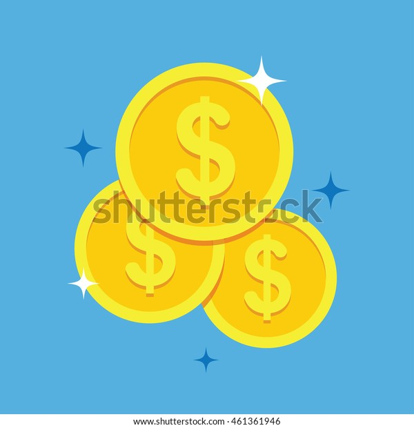 Coins icon vector illustration in a flat style. Stack of coins on a colored background. Gold coins dollar flat vector sign.