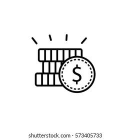 Coins, money line icon