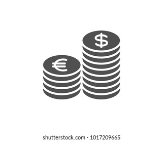 Coins money simple icon. Banking currency sign. Euro and Dollar Cash symbols. Quality design elements. Classic style. Vector