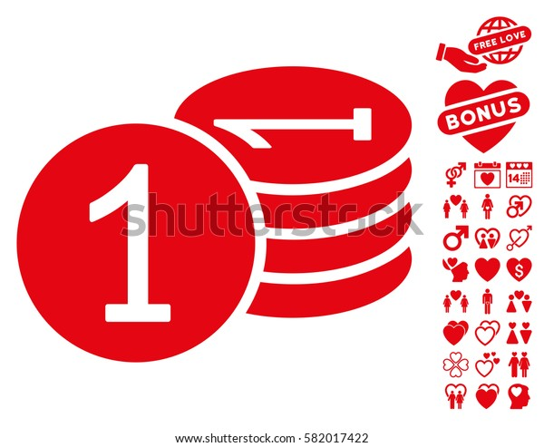 Coins pictograph with bonus decoration clip art. Vector illustration style is flat iconic red symbols on white background.
