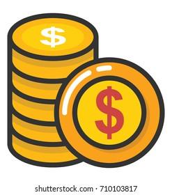 Coins Pile Vector Icon