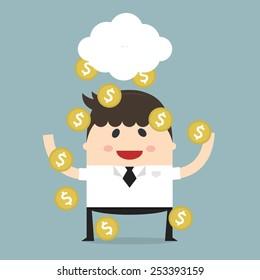 Coins raining over a businessman. Flat design. Vector illustration. business concept