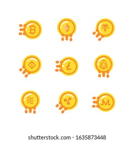 Coins set design of Cryptocurrency money currency exchange financial bank web internet market electronic finance and net theme Vector illustration