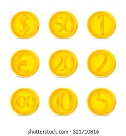 Coins set sign. Coins symbol. Coins on white background. Vector illustration