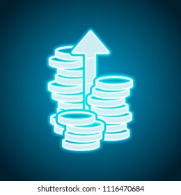 Coins stack, finance grow, up arrow. Neon style. Light decoration icon. Bright electric symbol