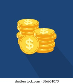 Coins stack icon in trendy flat style. Web site page and mobile app design element. Flat design in stylish colors. Isolated. Long Shadow.