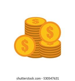 coins stack money golden vector illustration eps 10