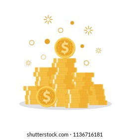 Coins stack with Mutual fund, Income increase, financial strategy performance, interest rate, budget balance, revenue growth, credit money, flat icon, Vector illustration