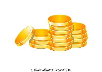 Coins stack vector illustration isolated on white background ,money icon,  golden penny cash pile vector for motion grafic or background design.
