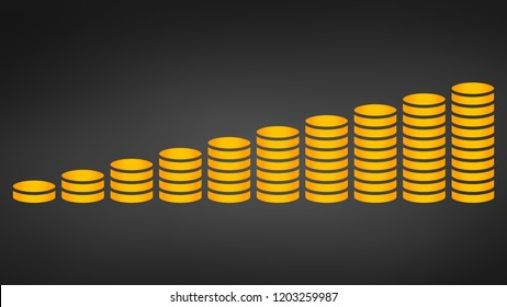 Coins stack vector illustration. Money stacked coins icon in flat style.