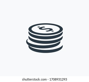 Coins stacked icon isolated on clean background. Coins stacked icon concept drawing icon in modern style. Vector illustration for your web mobile logo app UI design.