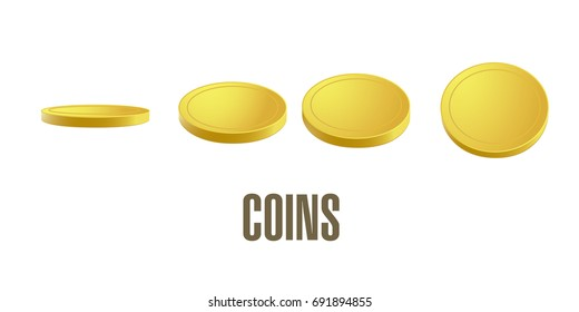 Coins vector, design on isolated