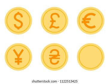 Coins Vector Icons Set. Flat Vector Illustration - Dollar, Euro, Pound, Yen, Hryvna