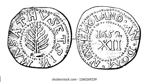 Coins were issued in denominations of 3 and 6 pence and 1 shilling. Middle part of the coin showing a Pine Tree, vintage line drawing or engraving illustration.