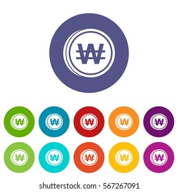 Coins won set icons in different colors. Flat illustration of won vector icons isolated on white background