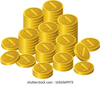 Coins written as J are stacked