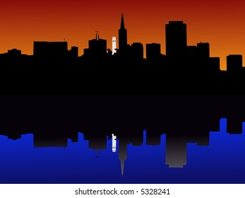 Coit tower and San Francisco skyline reflected at sunset illustration